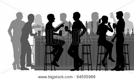 EPS8 editable vector cutout illustration of people drinking in a busy bar with all figures as separa