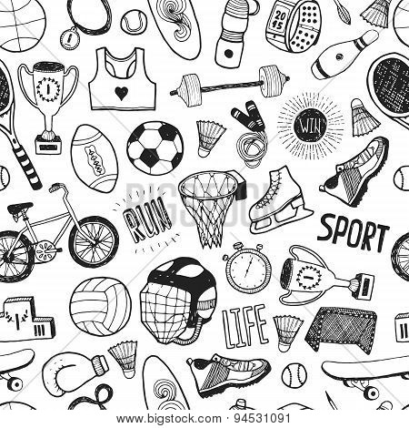 Hand drawn doodle sport background