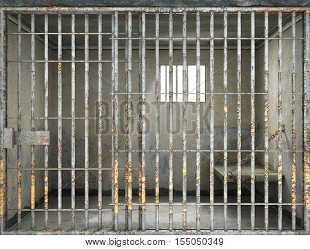 Concept of limiting freedom. Interior of prison cell. 3d illustration stock photo