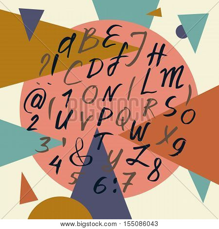 Vector alphabet. Hand drawn calligraphy letters. Vector letters and abstract backdrop with circles and triangles. Retro colors. For postcard or poster decorative graphic design.