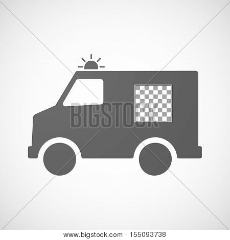 Illustration of an isolated ambulance furgon vector icon with a chess board stock photo