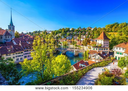 View Of Bern Old City Center With River Aare, Switzerland.