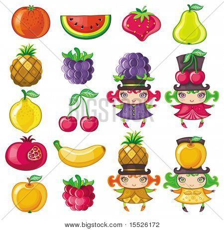 Different types of delicious fruits and cute fruity girls stock photo