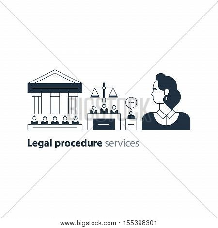 Flat design vector illustration. Court house trial case stock photo