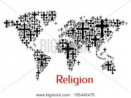 World map design of crucifix cross pattern. Religion conceptual decoration background of vector icons of crucifixion. Christianity orthodox, catholic symbols