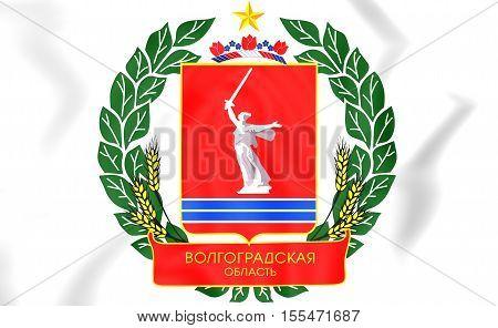 Volgograd Oblast Coat of Arms Russia. 3D Illustration. stock photo