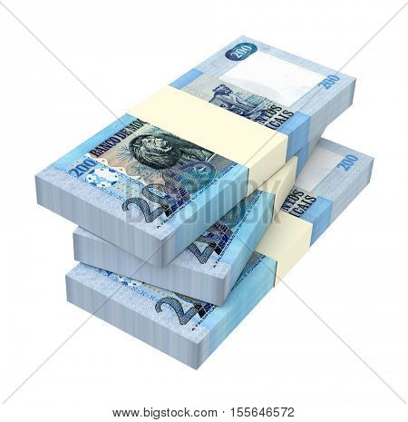 Mozambican meticais bills isolated on white background. 3D illustration. stock photo
