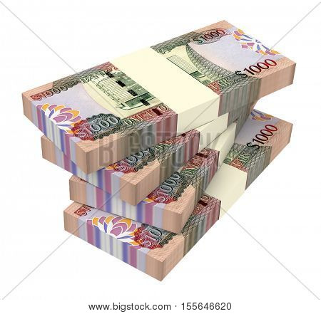 Guyanese dollar dollar bills isolated on white background. 3D illustration. stock photo