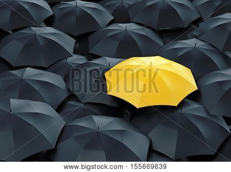 Unique yellow umbrella among many dark ones. Standing out from crowd individuality and difference concept.