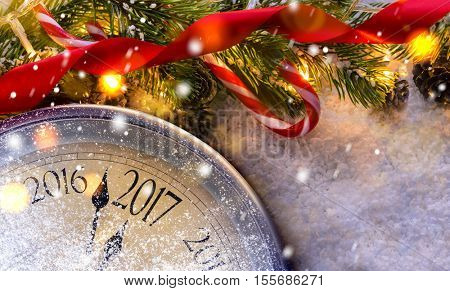 Countdown to midnight. Retro style clock counting last moments before Christmas or New Year 2017 nex