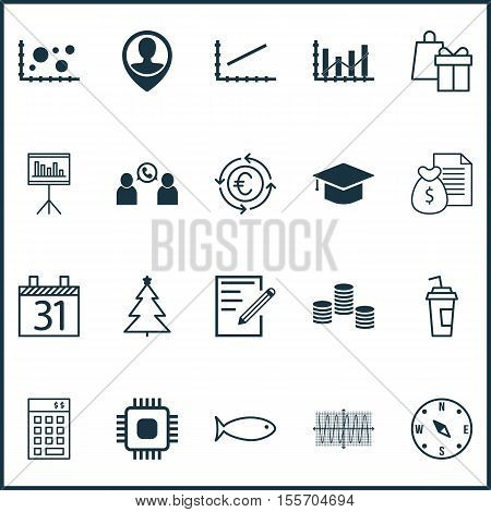 Set Of 20 Universal Editable Icons. Can Be Used For Web Mobile And App Design. Includes Icons Such As Raise Diagram Money Graduation And More. stock photo