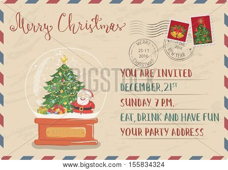 Vintage Christmas Postcard with postal stamps. Snow globe with Santa, christmas tree, gifts cartoon vector. Invitation on holiday party. Merry Christmas and Happy New Year greeting card. Xmas letter stock photo