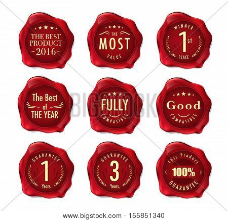 Set of wax stamp. Stamp on Red Wax Seal Isolated on White. Business Concept. vector stock. stock photo