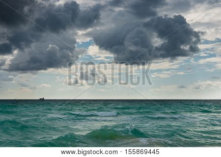 Ocean water surface under cloudy sky. Great impression of distance and solitude. stock photo