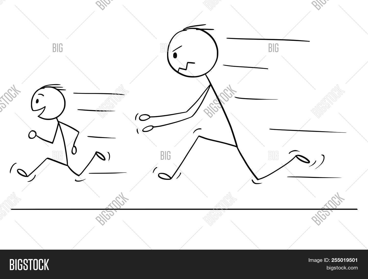 Cartoon Stick Drawing Conceptual Illustration Of Frustrated And Angry Father Chasing Naughty And Dis 255019501 Image Stock Photo