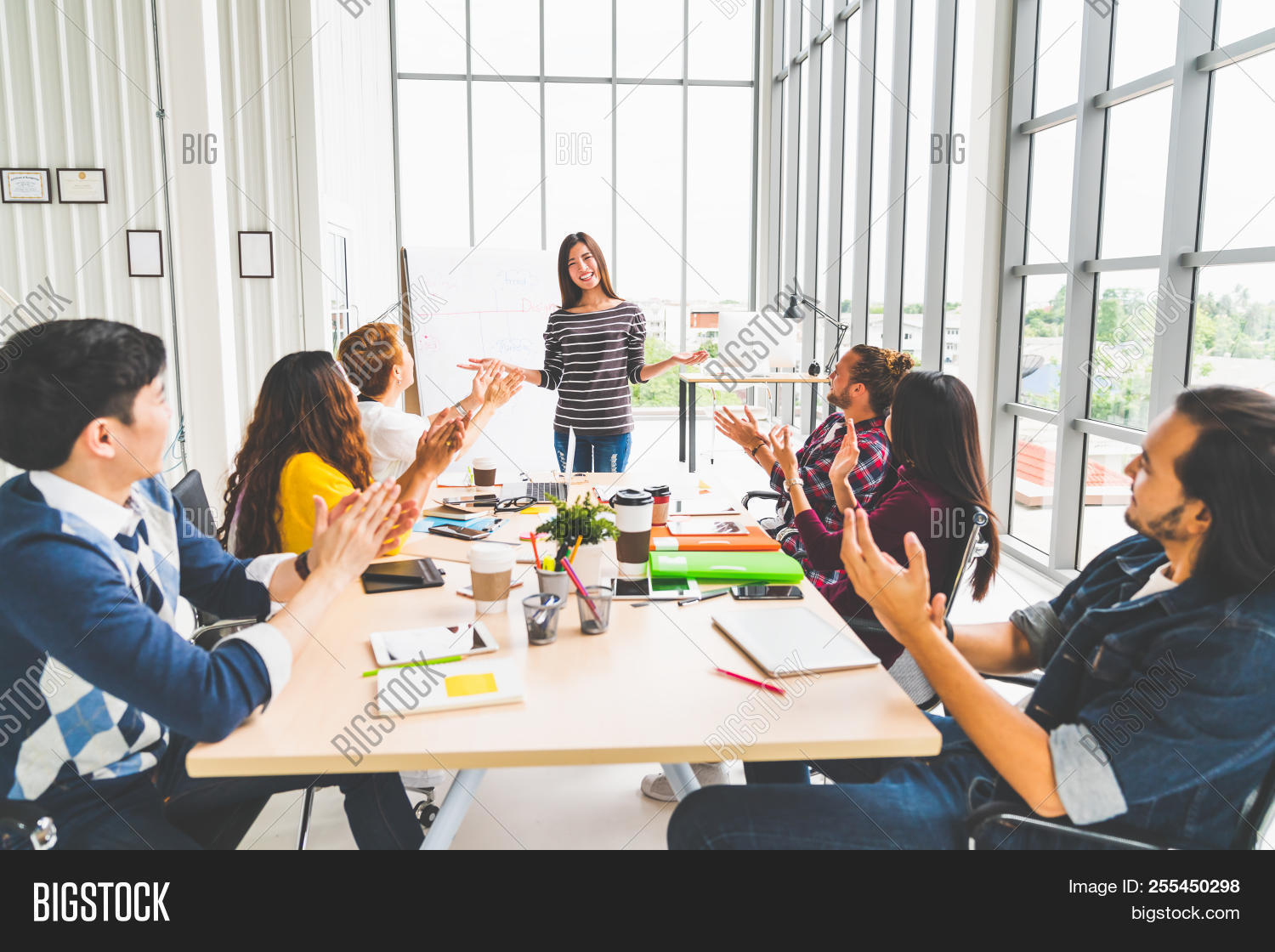 Multiethnic Diverse Group Of Creative Team Or Business Coworker Clapping Hands In Project Presentati