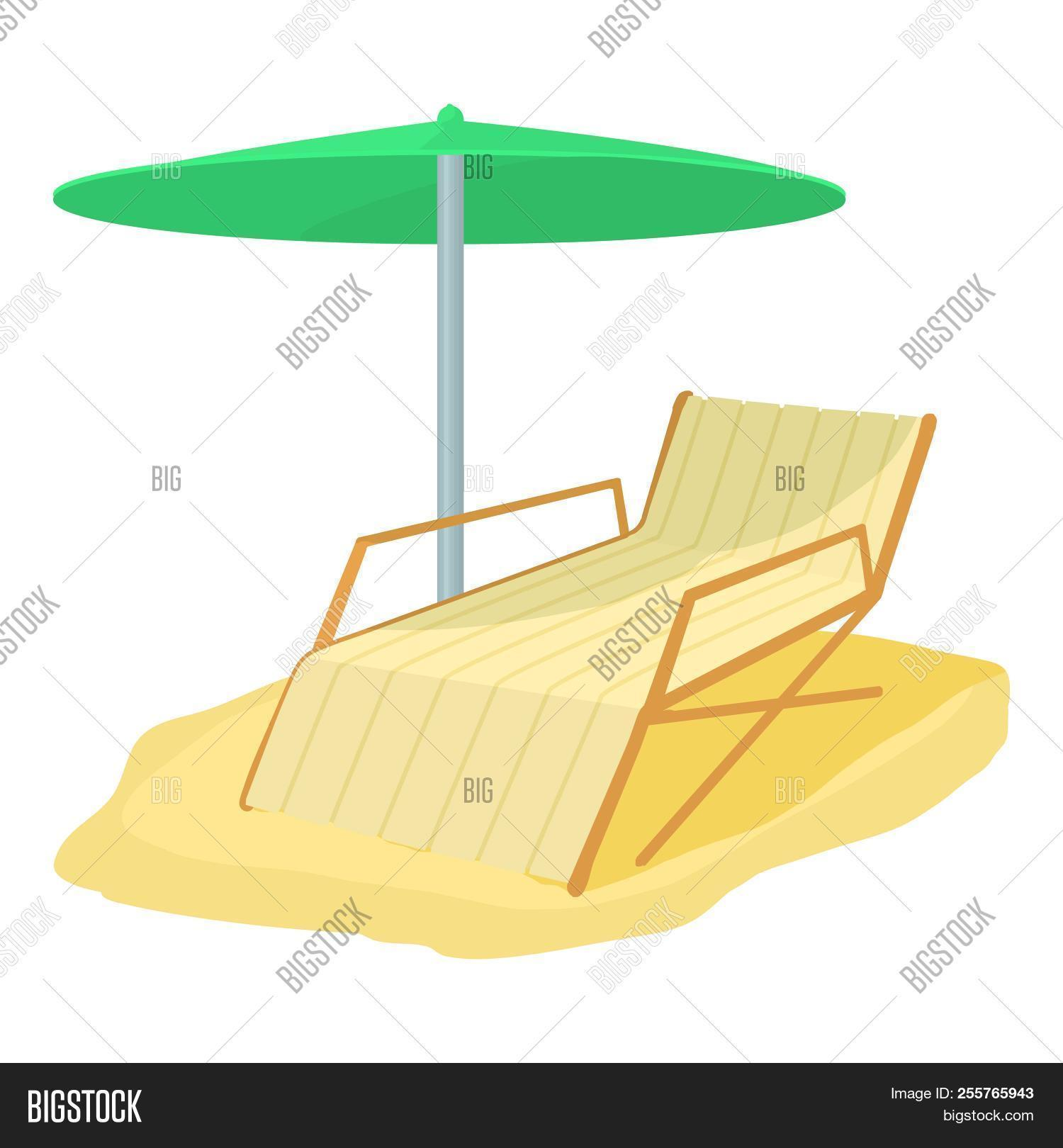 Deck chair icon. Cartoon illustration of deck chair icon for web