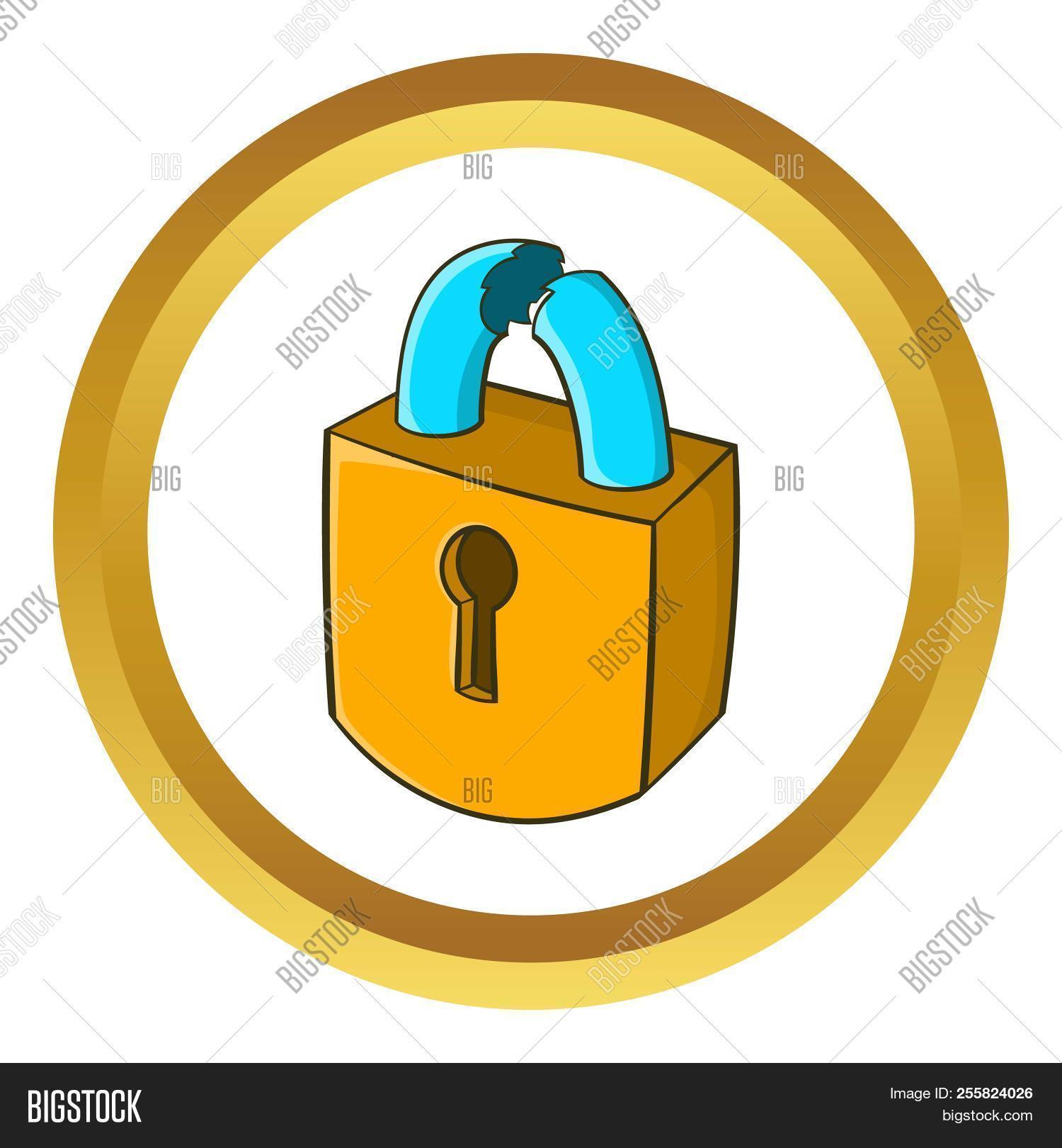 Padlock Which Is Broken Icon In Golden Circle Cartoon Style Isolated On White Background 255824026 Image Stock Photo