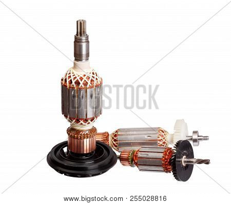 Copper Coils inside Electric Motor isolated on white background stock photo