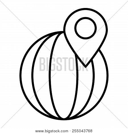 Location Pointer On Globe Thin Line Icon Location Pin Vector