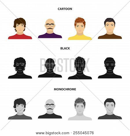 The appearance of the young guy, the face of a bald man with a mustache in his glasses. Face and appearance set collection icons in cartoon, black, monochrome style vector symbol stock illustration web. stock photo