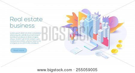 Real estate business isometric vector illustration. House searching app concept. Online buying, renting, selling property website layout. stock photo
