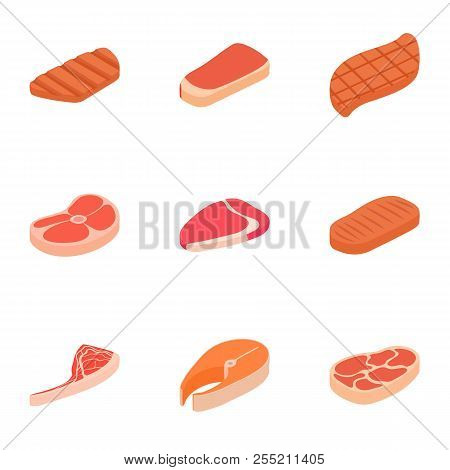 Kind of meat icons set. Cartoon illustration of 9 kind of meat icons for web stock photo