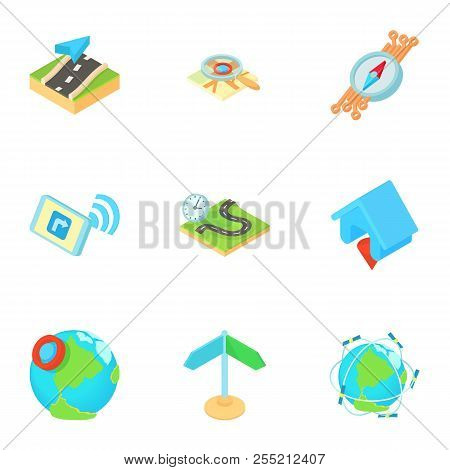 Search territory icons set. Cartoon illustration of 9 search territory icons for web stock photo