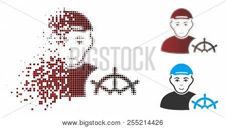 Captain icon with face in sparkle, dotted halftone and undamaged entire variants. Particles are arranged into vector dissipated captain icon. stock photo