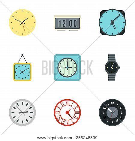 Clock icons set. Flat illustration of 9 clock icons for web stock photo