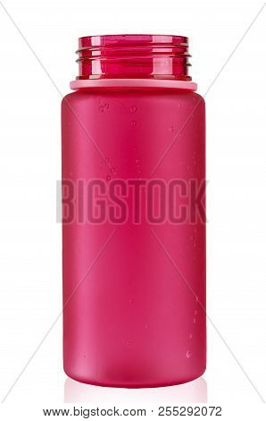 colored water bottle for a cyclist on a white background. isolated. with an unscrewed lid. clipping path stock photo