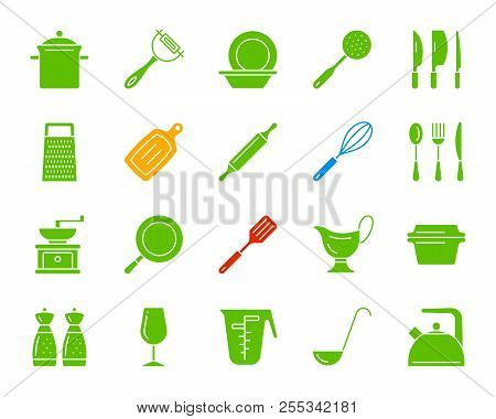 Kitchenware silhouette icons set. Isolated sign kit of cookware. Dishware pictogram collection includes frying pan, lid, utensil. Simple kitchen ware color contour symbol. Vector Icon shape for stamp stock photo