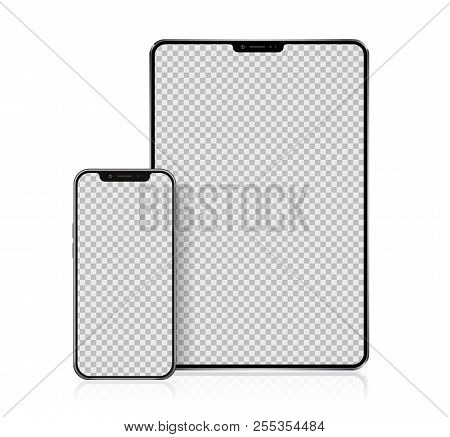 Realistic Tablet and Smartphone with transparent Wallpaper Screen Isolated on white. Set of Device Mockup Separate Groups and Layers. New Easily Editable Vector.