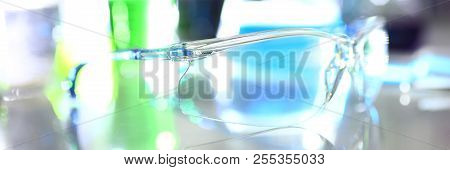 Protective surgical goggles for operations and chemical gas research if exposure to chemicals and substances is dangerous Safety precautions stock photo