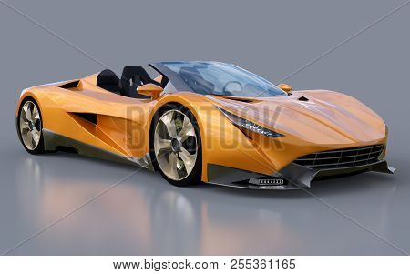 Orange conceptual sports cabriolet for driving around the city and racing track on a gray background. 3d rendering. stock photo