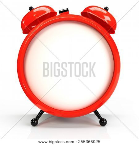 Abstract alarm clock, isolated on white background. 3D rendering stock photo
