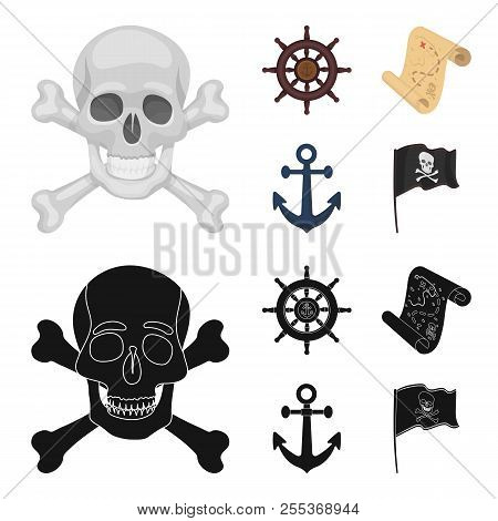 Pirate, bandit, rudder, flag .Pirates set collection icons in cartoon, black style vector symbol stock illustration web. stock photo