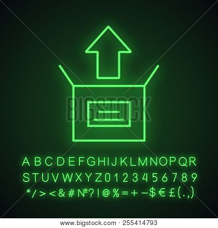Unboxing neon light icon. Box unpacking. Glowing sign with alphabet, numbers and symbols. Vector isolated illustration stock photo