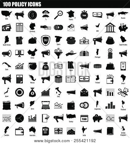 100 policy icon set. Simple set of 100 policy icons for web design isolated on white background stock photo