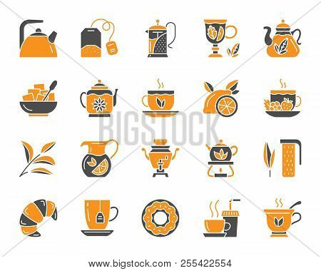 Tea attributes silhouette icons set. Isolated on white web sign kit of cup. Tea Time pictogram collection includes tea leaf, mug, kettle. Simple tea contour symbol. Vector Icon shape for stamp stock photo
