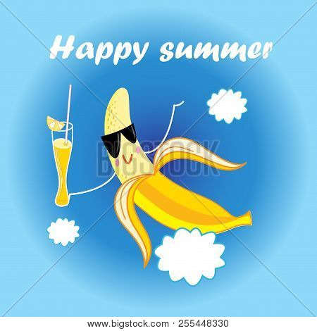 Vector jolly yellow banana cartoon with a cocktail on a blue background stock photo