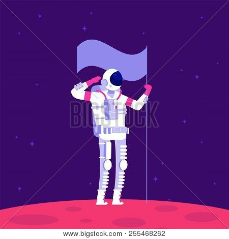 Mars colonization. Astronaut holging flag on red planet in outer space. Mars project astronautics vector concept. Illustration of astronaut spaceman exploration mission stock photo