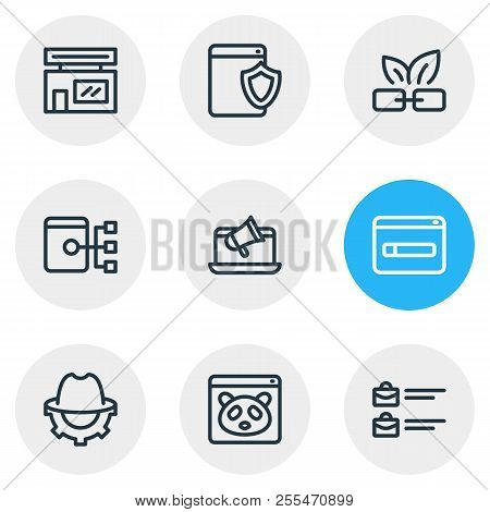 illustration of 9 advertisement icons line style. Editable set of online branding, google panda, domain registration icon elements. stock photo