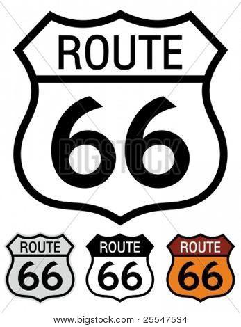 Route 66 highway sign. stock photo