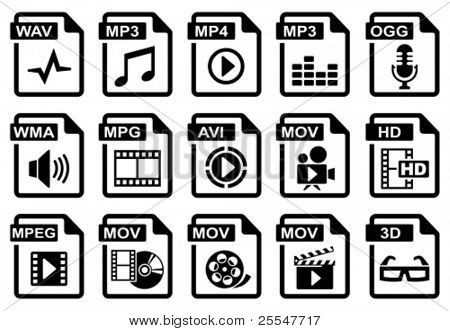 File type icons: audio & video set. All white areas are cut away from icons and black areas merged. stock photo