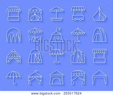 Tent paper cut art line icons set. 3D sign kit of umbrella. Circus linear pictogram collection includes store, restaurant, campsite. Simple tent vector paper carved icon shape. Material design symbol stock photo