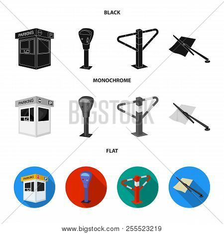 A parking lot, a parking meter, a check for services, a barrier. Parking zone set collection icons in black, flat, monochrome style vector symbol stock illustration web. stock photo