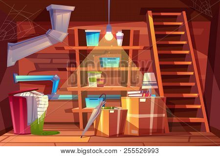 Vector cellar interior, storage of clothing inside the basement in cartoon style. Storeroom with shelves, furniture, pipeline. Illuminated by light of lamp bulb. Architecture background of storehouse stock photo