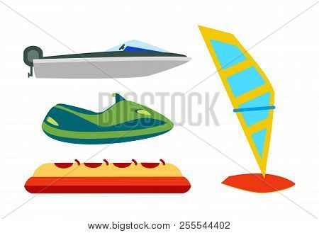Water transport with equipment cartoon icons set, motor boat or water crafts, inflatable banana and windsurfing board isolated on white, vector illustration. stock photo
