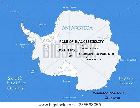 Schematic vector map. Location of the South poles. stock photo